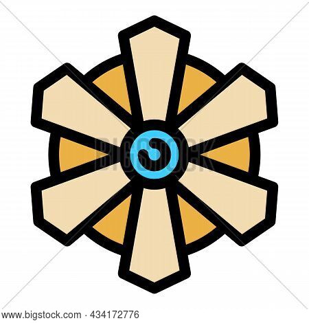 Fan Top View Icon. Outline Fan Top View Vector Icon Color Flat Isolated