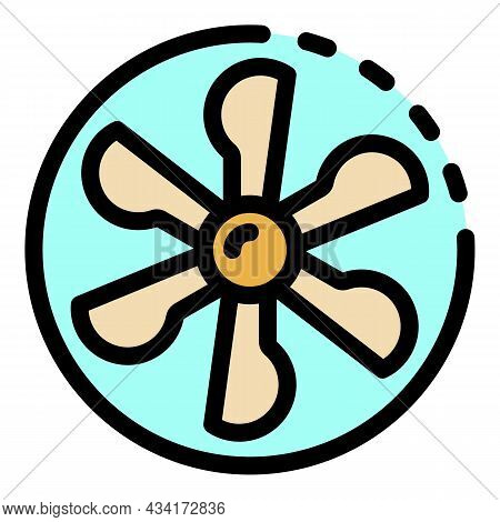 Fan Blades In A Circle Icon. Outline Fan Blades In A Circle Vector Icon Color Flat Isolated