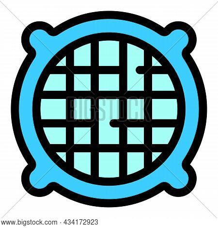 Round Ventilation Grids Icon. Outline Round Ventilation Grids Vector Icon Color Flat Isolated
