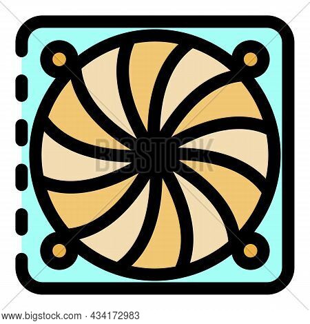 Ventilation Fan Under Cover Icon. Outline Ventilation Fan Under Cover Vector Icon Color Flat Isolate