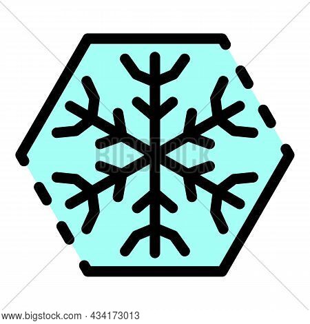 Snowflake In A Hexagon Icon. Outline Snowflake In A Hexagon Vector Icon Color Flat Isolated