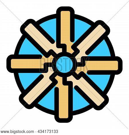Industrial Ventilation Fan Icon. Outline Industrial Ventilation Fan Vector Icon Color Flat Isolated