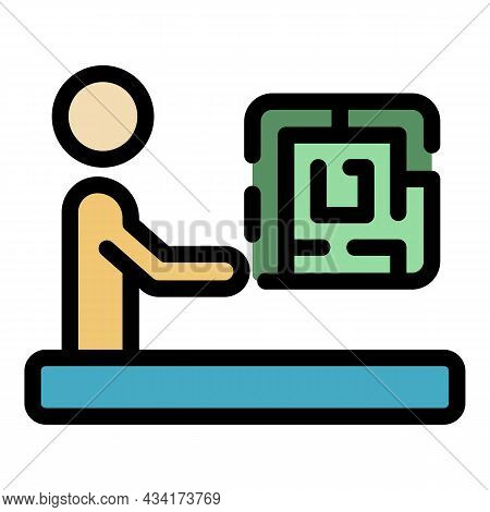 Resolve Crisis Labyrint Icon. Outline Resolve Crisis Labyrint Vector Icon Color Flat Isolated