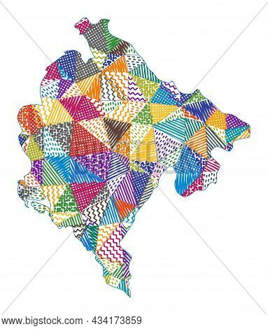 Kid Style Map Of Montenegro. Hand Drawn Polygons In The Shape Of Montenegro. Vector Illustration.