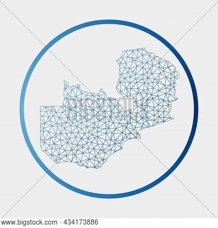 Zambia Icon. Network Map Of The Country. Round Zambia Sign With Gradient Ring. Technology, Internet,