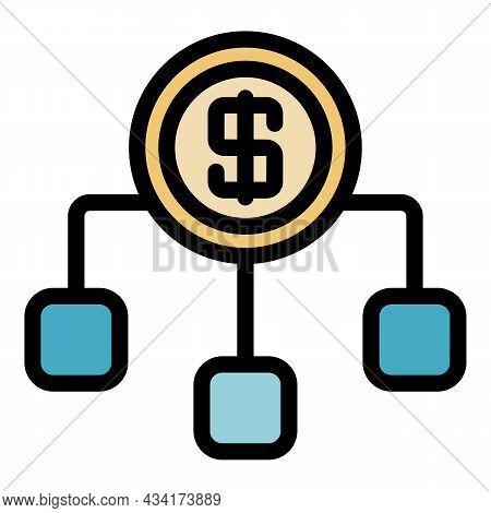 Bank Money Scheme Icon. Outline Bank Money Scheme Vector Icon Color Flat Isolated