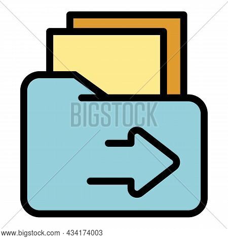 Restructuring Folder Icon. Outline Restructuring Folder Vector Icon Color Flat Isolated