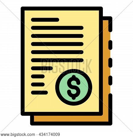 Restructuring Money Papers Icon. Outline Restructuring Money Papers Vector Icon Color Flat Isolated
