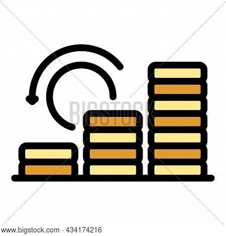 Coin Stack Boost Icon. Outline Coin Stack Boost Vector Icon Color Flat Isolated