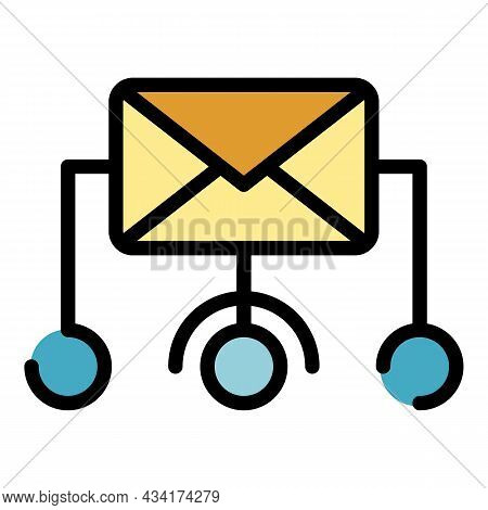 Mail Scheme Icon. Outline Mail Scheme Vector Icon Color Flat Isolated