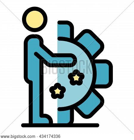 Gear Wheel System Icon. Outline Gear Wheel System Vector Icon Color Flat Isolated