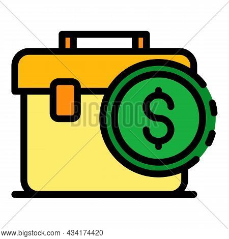 Broker Bag Icon. Outline Broker Bag Vector Icon Color Flat Isolated
