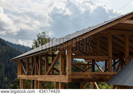 Roof And Wooden Beams Part Of House Construction Traditional European