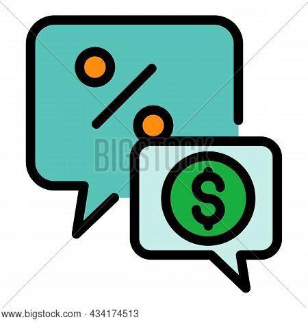 Broker Work Chat Icon. Outline Broker Work Chat Vector Icon Color Flat Isolated