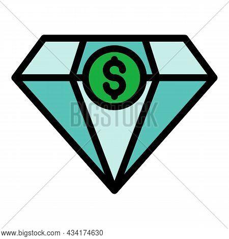 Diamond Money Broker Icon. Outline Diamond Money Broker Vector Icon Color Flat Isolated