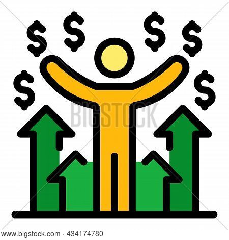 Winning Money Broker Icon. Outline Winning Money Broker Vector Icon Color Flat Isolated