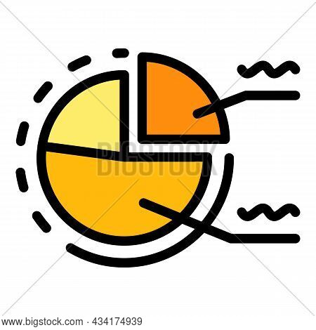 Seller Pie Chart Icon. Outline Seller Pie Chart Vector Icon Color Flat Isolated