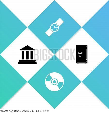 Set Bank Building, Cd Or Dvd Disk, Wrist Watch And Safe Icon. Vector