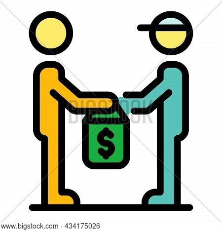 Courier Take Money Broker Icon. Outline Courier Take Money Broker Vector Icon Color Flat Isolated