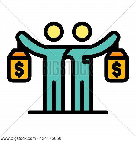 Finance Broker Friends Icon. Outline Finance Broker Friends Vector Icon Color Flat Isolated