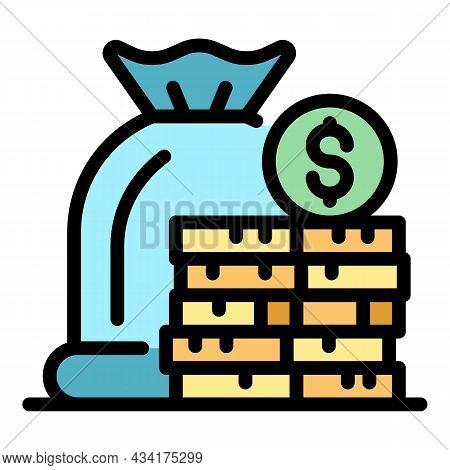 Deposit Money Icon. Outline Deposit Money Vector Icon Color Flat Isolated