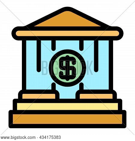 Bank Money Deposit Icon. Outline Bank Money Deposit Vector Icon Color Flat Isolated