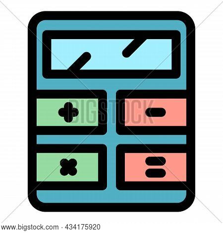 Calculator Device Icon. Outline Calculator Device Vector Icon Color Flat Isolated
