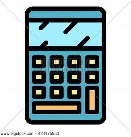 Mathematical Calculator Icon. Outline Mathematical Calculator Vector Icon Color Flat Isolated