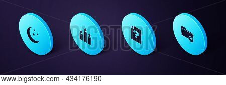 Set Isometric Unknown Directory, Document, Ranking Star And Moon And Stars Icon. Vector