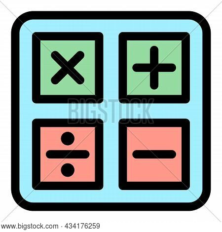 Student Calculator Icon. Outline Student Calculator Vector Icon Color Flat Isolated