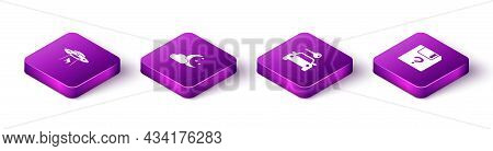 Set Isometric Ufo Abducts Cow, Cloud With Moon And Stars, Car Rental And Unknown Document Icon. Vect