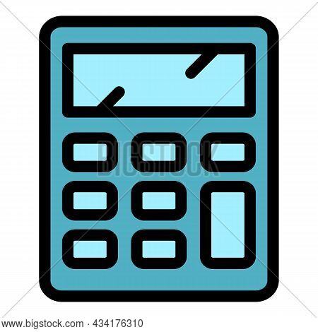 Salary Calculator Icon. Outline Salary Calculator Vector Icon Color Flat Isolated