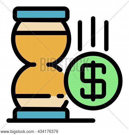 Hourglass Money Trade Icon. Outline Hourglass Money Trade Vector Icon Color Flat Isolated