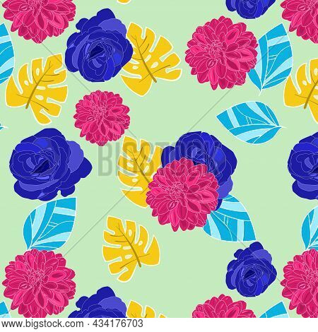 Seamless Pattern Of Pantone Blue Color, Dogwood Rose Color Dahlia Flowers With Jonquil And Cyan Proc