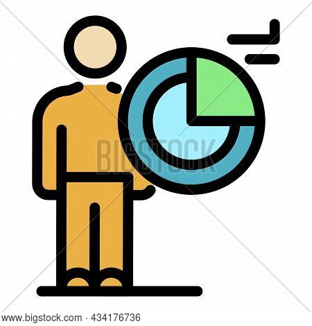 Working Broker Icon. Outline Working Broker Vector Icon Color Flat Isolated