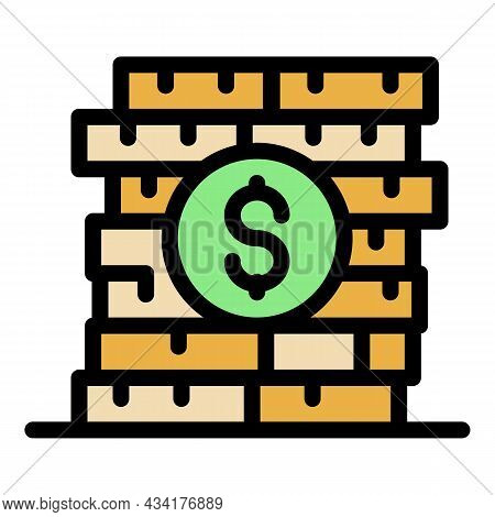 Broker Coin Stack Icon. Outline Broker Coin Stack Vector Icon Color Flat Isolated