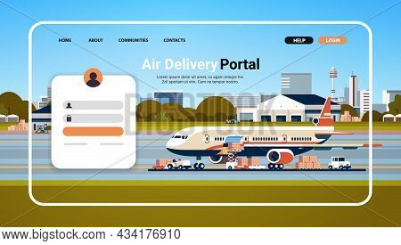Air Delivery Portal Website Landing Page Template Global Logistic Transportation Online Order Concep