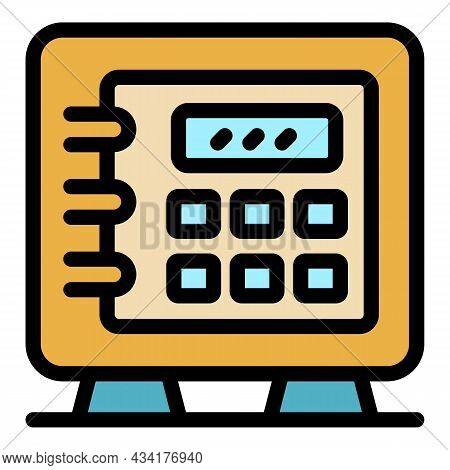 Broker Money Safe Icon. Outline Broker Money Safe Vector Icon Color Flat Isolated