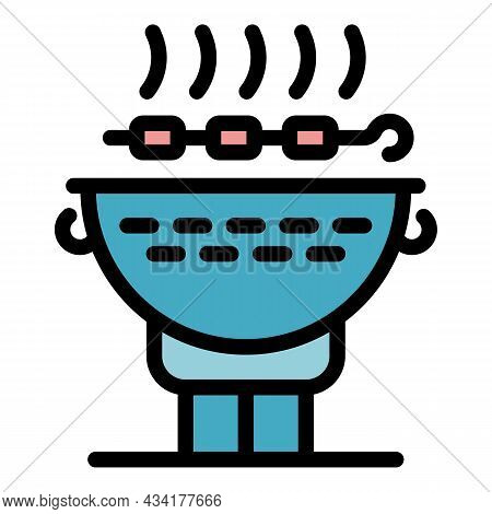 Cooking Brazier Icon. Outline Cooking Brazier Vector Icon Color Flat Isolated