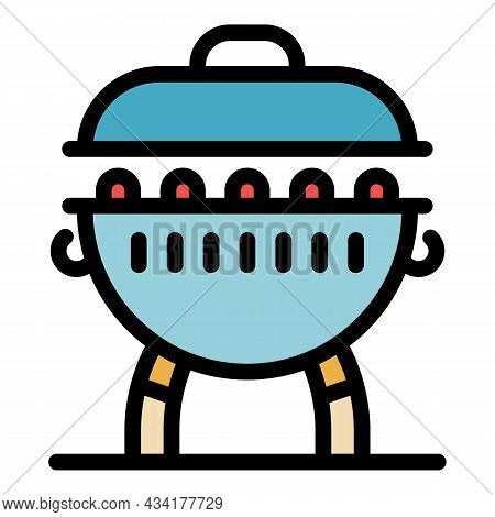 Charcoal Brazier Icon. Outline Charcoal Brazier Vector Icon Color Flat Isolated