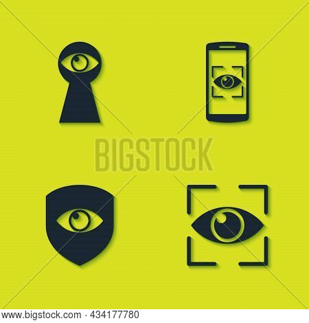 Set Keyhole With Eye, Eye Scan, Shield And And Mobile Icon. Vector