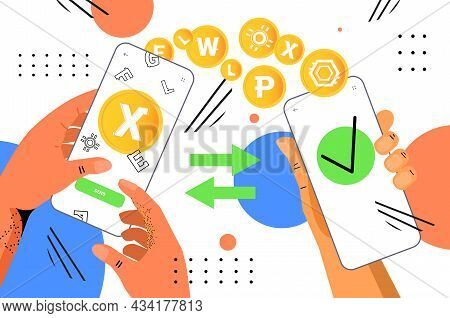 Hands Holding Smartphones Sending And Receiving Digital Coins Mining Cryptocurrency Exchange Banking