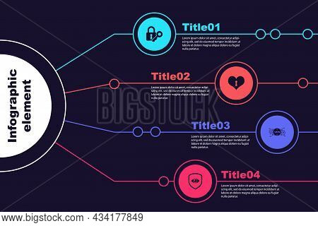 Set Lock And Key, Heart With Keyhole, Vpn Microchip Circuit And Shield Eye. Business Infographic Tem