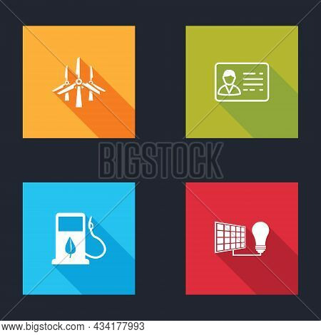 Set Wind Turbines, Identification Badge, Bio Fuel With Fueling Nozzle And Solar Energy Panel And Lig