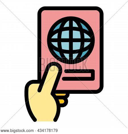 International Passport Icon. Outline International Passport Vector Icon Color Flat Isolated