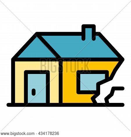 House Destruction After War Icon. Outline House Destruction After War Vector Icon Color Flat Isolate
