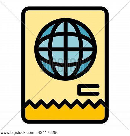 Immigrant White Passport Icon. Outline Immigrant White Passport Vector Icon Color Flat Isolated