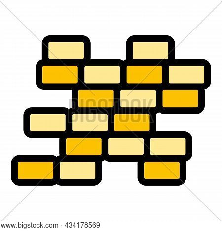 Destroyed Brick Wall Icon. Outline Destroyed Brick Wall Vector Icon Color Flat Isolated