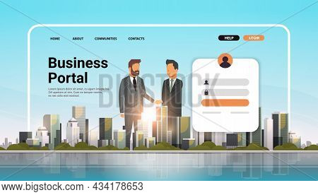 Business Portal Website Landing Page Template Businesspeople Shaking Hands Agreement Concept