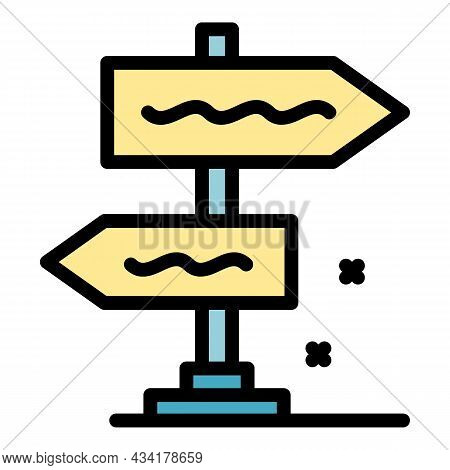 Direction Pillar Icon. Outline Direction Pillar Vector Icon Color Flat Isolated